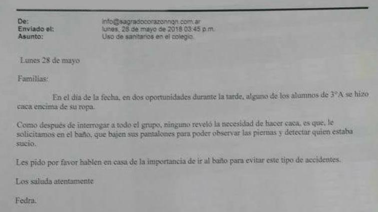 El mail que recibieron los padres por parte del colegio. FOTO (La Mañana de Neuquén).