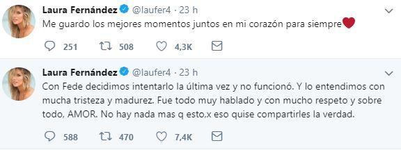 Los mensajes de Laurita Fernández en sus redes.
