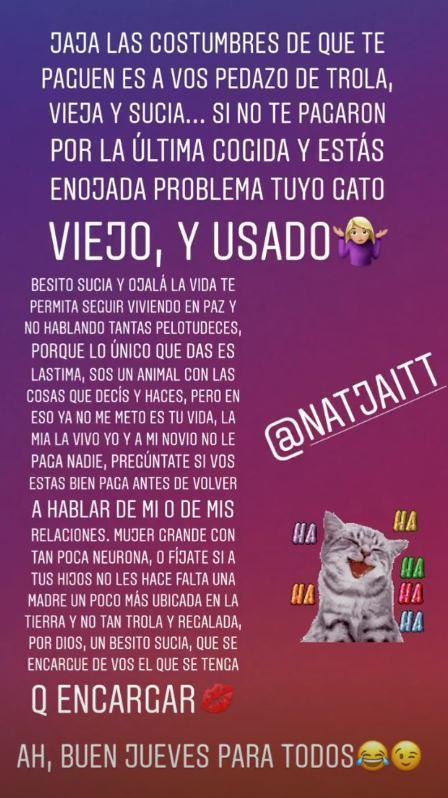 EL MENSAJE CONTRA NATACHA. Morena lo publicó en las historias de Instagram.